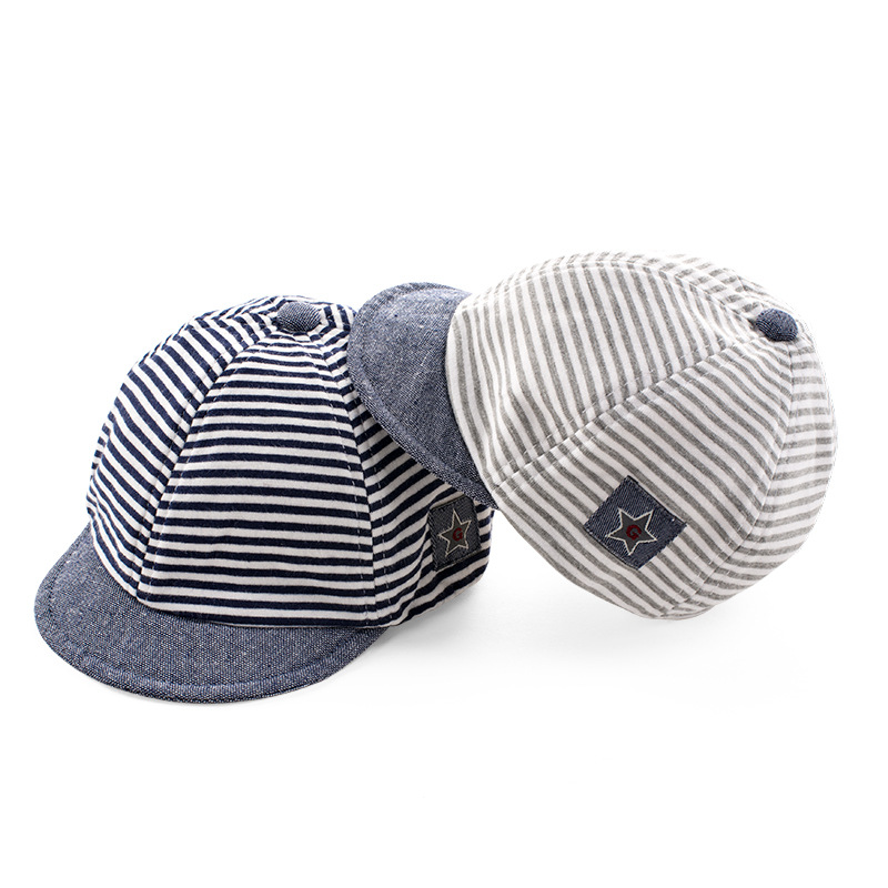 Summer Cotton Comfortable Infant Hats Cute Casual Striped Soft Eaves Baseball Cap Baby Boy Beret Baby Girls Sun Hat(China (Mainland))