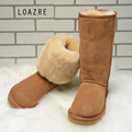 Handmade Women s Natural Fur Snow Boots 100 Genuine Sheepskin Shearling women Boots Female Warm Keep