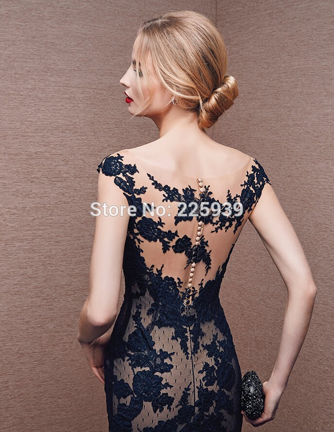 Новое поступление русалка длинные платья выпускного вечера видеть сквозь кружевном чепце рукавом ну вечеринку главная ближайшие вечернее платье Большой размер