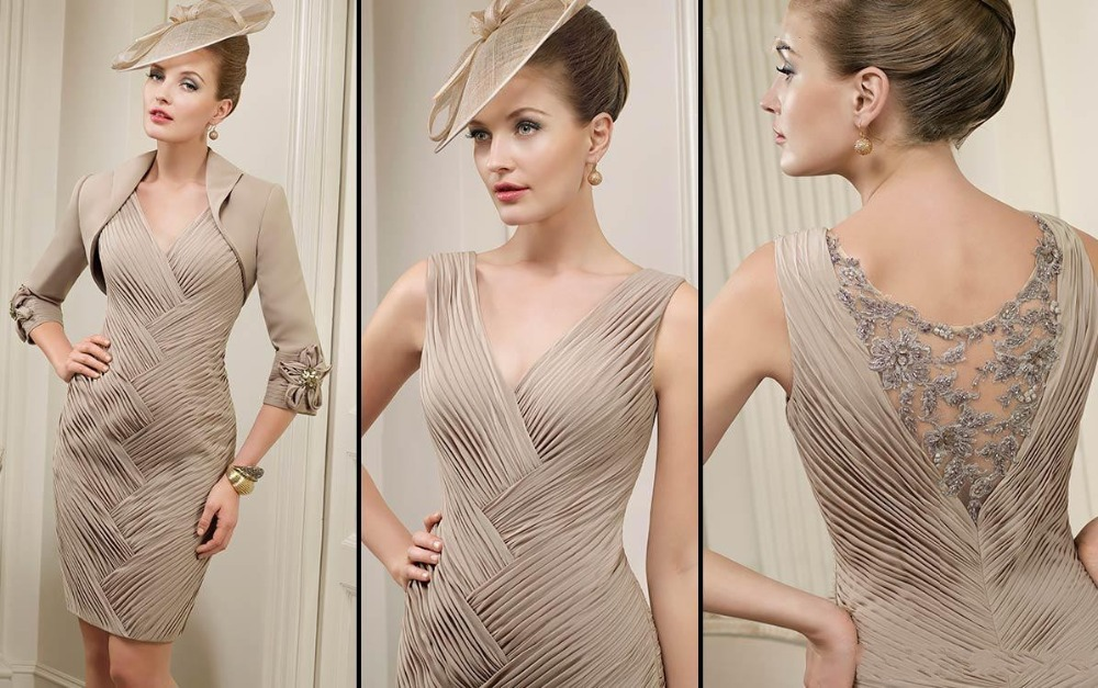 Elegant champagne knee length mother of the bride pant suits 2015