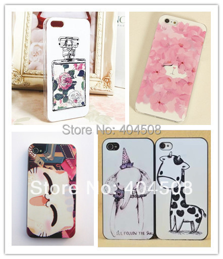 perfume bottle mobile case Giraffe elephant animal coloured cell phone case for iphone 4 4S 5 5s hard back cover shell skin