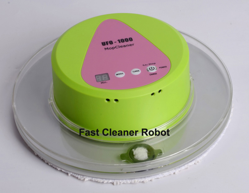 Lovely UFO Design Mini Robot Wet and Dry Mop Cleaner With 247ML BIG Water Tank+2pcs Washable Wetand Dry mop,10pcs Disposable Mop(China (Mainland))