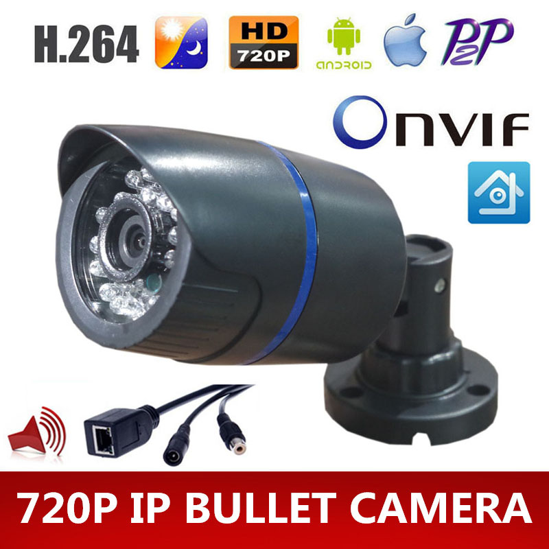 HD 720P IP Camera Audio 1MP Camera IP With External Microphone Pickup Outdoor Bullet CCTV ABS Plastic(China (Mainland))