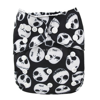 New Design Skull Baby Infant Pocket Cloth Diaper,1 Diaper +1 Insert/Nappy, Reusable Adjustable,Washable, Free Shipping