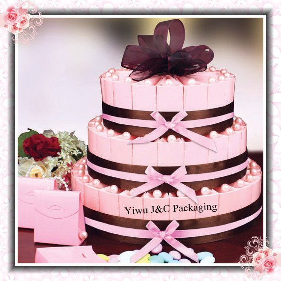 FREE SHIPPING--100pcs Wedding Big Round Decoration Cake Boxes with Decoration Accessories (JCO-385)