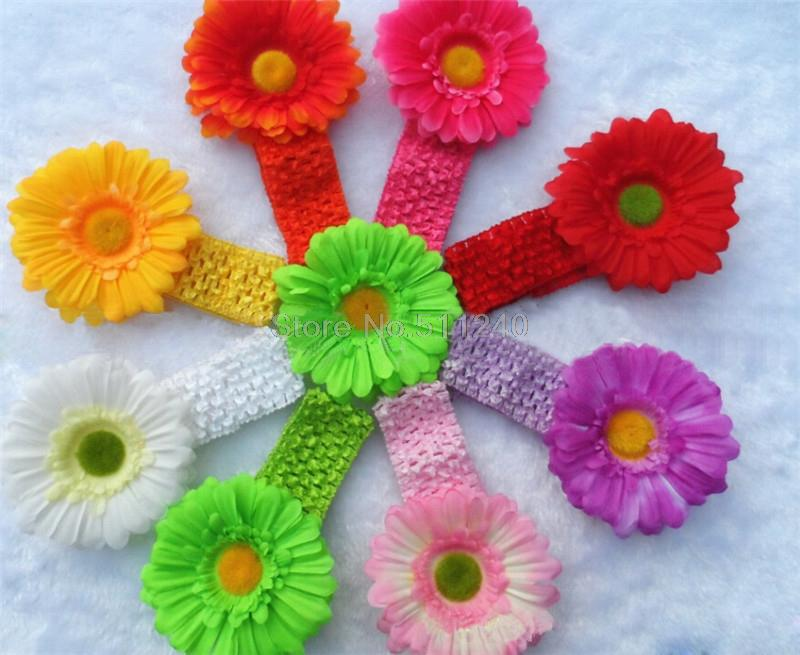 8Colors Baby Children Sunflower Gerbera Infant Toddler Girl Headband Clips Hairband Hair Band Accessories Drop Shipping(China (Mainland))