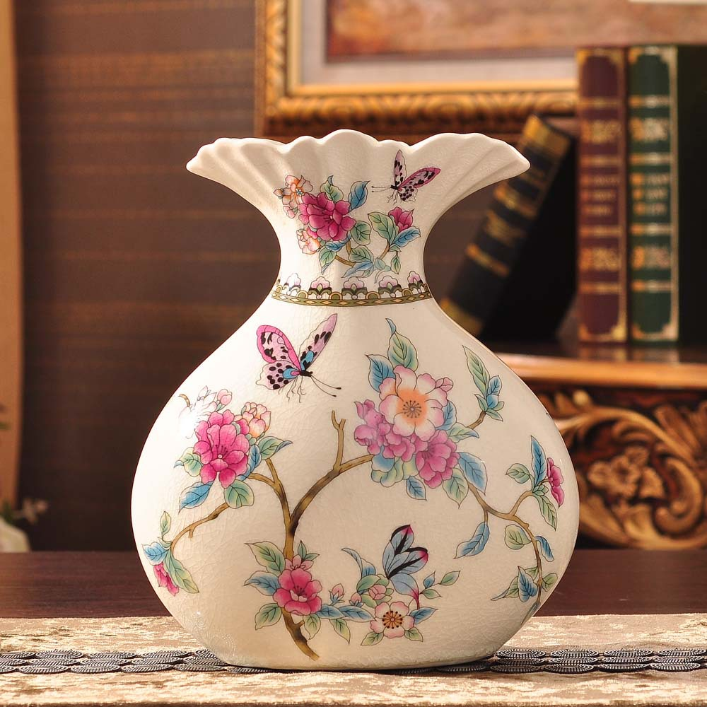 Manufacturers selling ice crack ceramic garden living room decoration flower vase with ceramic butterfly spring(China (Mainland))