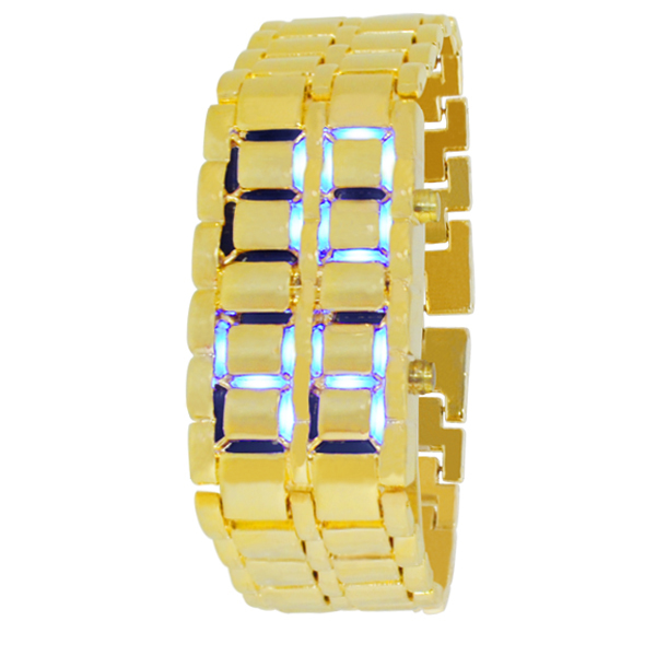 2015 new arrivals women&men size gold full steel with blue&red lights lava digital clock iron wrist led watch(China (Mainland))