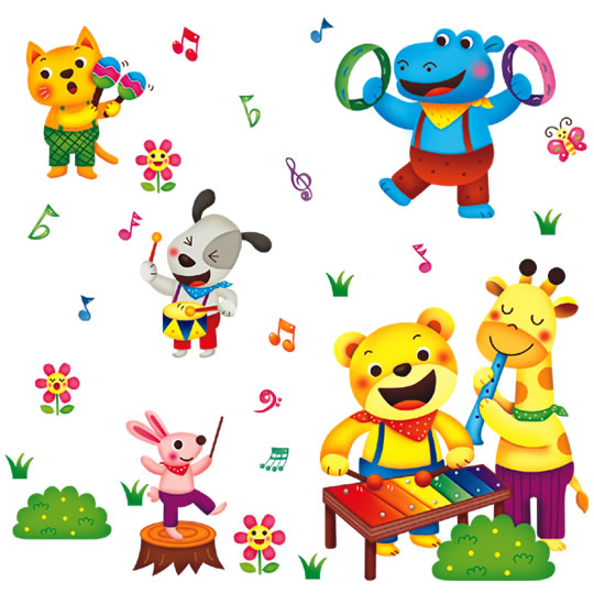 Removable wall stickers Animal Concert Cartoon children's room Bedroom Romantic Skirting board Background wall Posters wallpaper(China (Mainland))