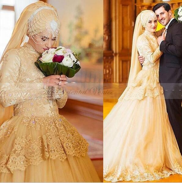Islamic Wedding Dresses With Hijab 2017 : Popular gold wedding gowns buy cheap