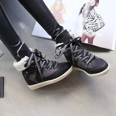 2015 New Winter shoes Womens Wedge Sneakers Plush Lace-up high-top Sneakers platform Shoes Sport Shoes For Women shoes<br>