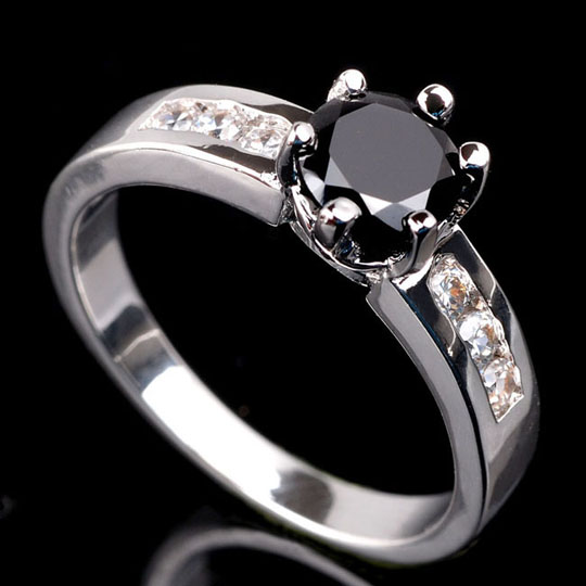 Fashiong Jewelry Engagement Ring Cute Small Round Cut Stone Black yx for Wo