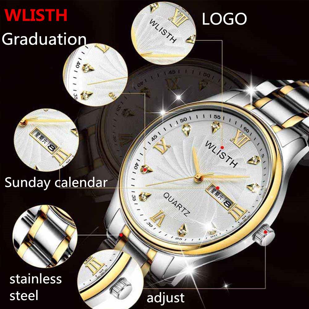2016 New Fashion WLISTH Men Quartz Watches Full stainless steel Complete Calendar Wrist watches for men waterproof clock men(China (Mainland))