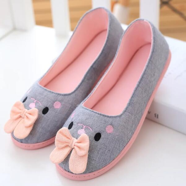 Cute cotton fabric bowknot pink gray blue bunny rabbit ears home indoor floor slippers,daily household women casual slipper(China (Mainland))