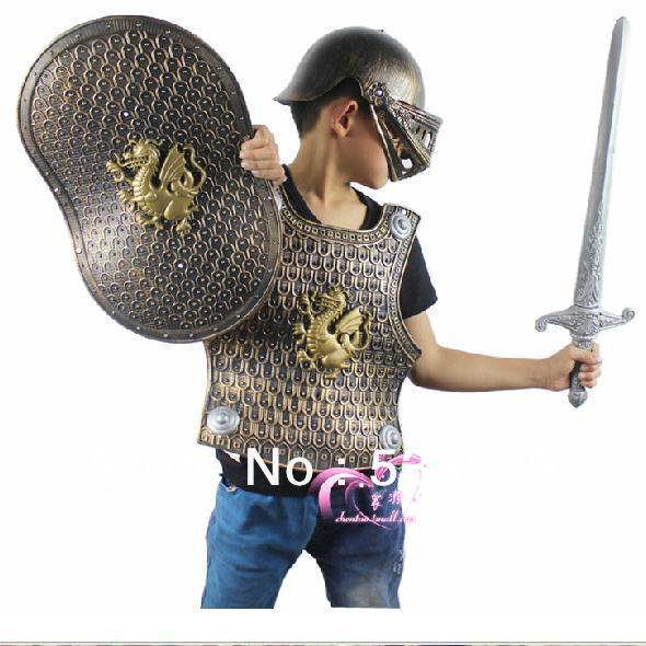 Cool Children's Costumes Armor Male Kids Dragon Knight Sword Warrior Shield Child Helmet Clothing Four Pieces - 4yourbestpartner Online Market store