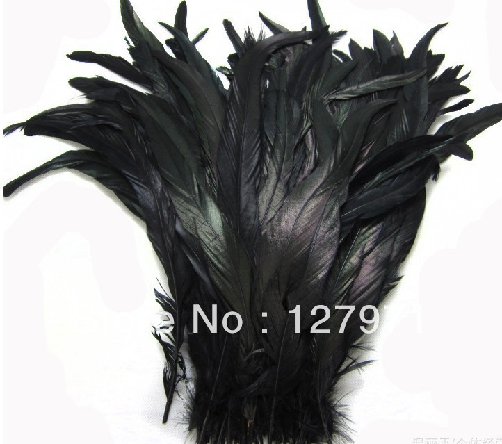 10lot 12-14inches/30-35cm black Dyeing Loose Rooster Tail Feathers Dress/Hats Trims - tang xiao's store