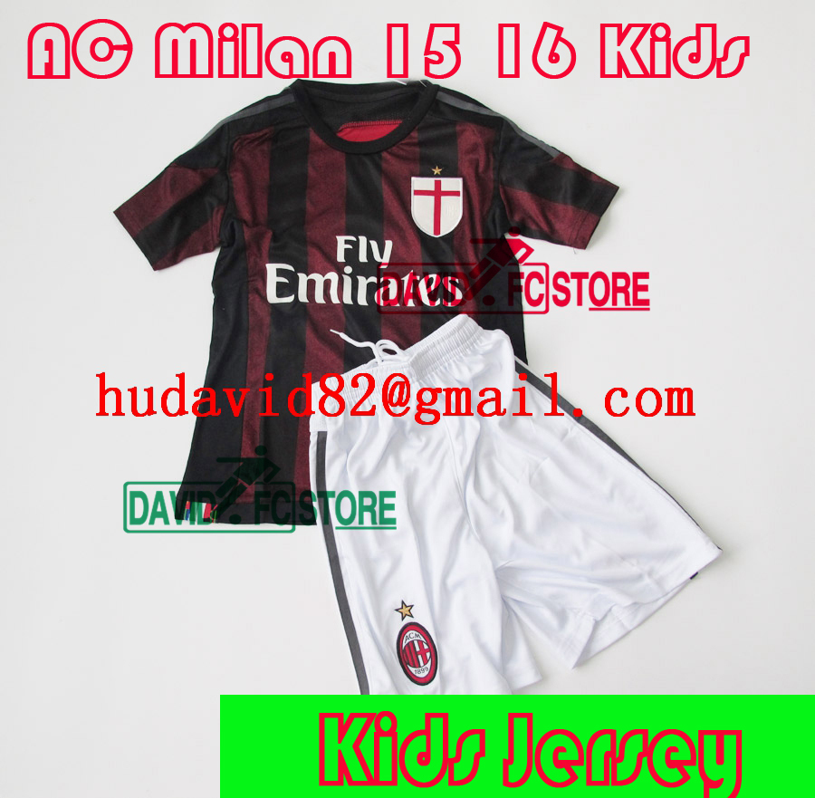 Italy AC Milan 2015 16 KIDS soccer jersey EL SHAARAWY MENEZ home football shirt MONTOLIVO soccer uniforms set kit jerseys(China (Mainland))