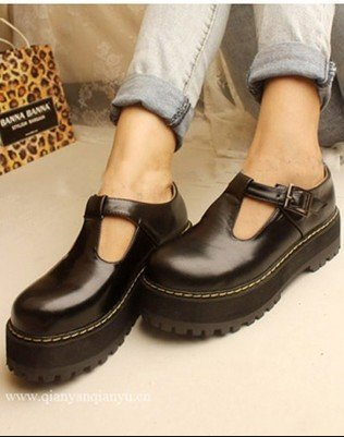 LY3375 2016 Spring Autumn New Vintage Thick Bottom Low Help Shallow Mouth Round Head Lady Shoes (Size34-40) - Fashion Shop 1225 store