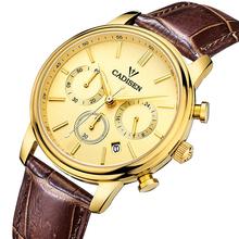 CADISEN Top Men Watches Luxury Brand Men's Quartz Hour Analog Chronograph Sports Watch Men gold  Wrist Watch Relogio Masculino