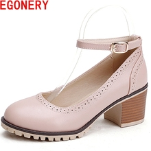 small fresh fashion elegant light blue women shoes round toe square high heels pu leather pumps bowties bukle strap shoes woman