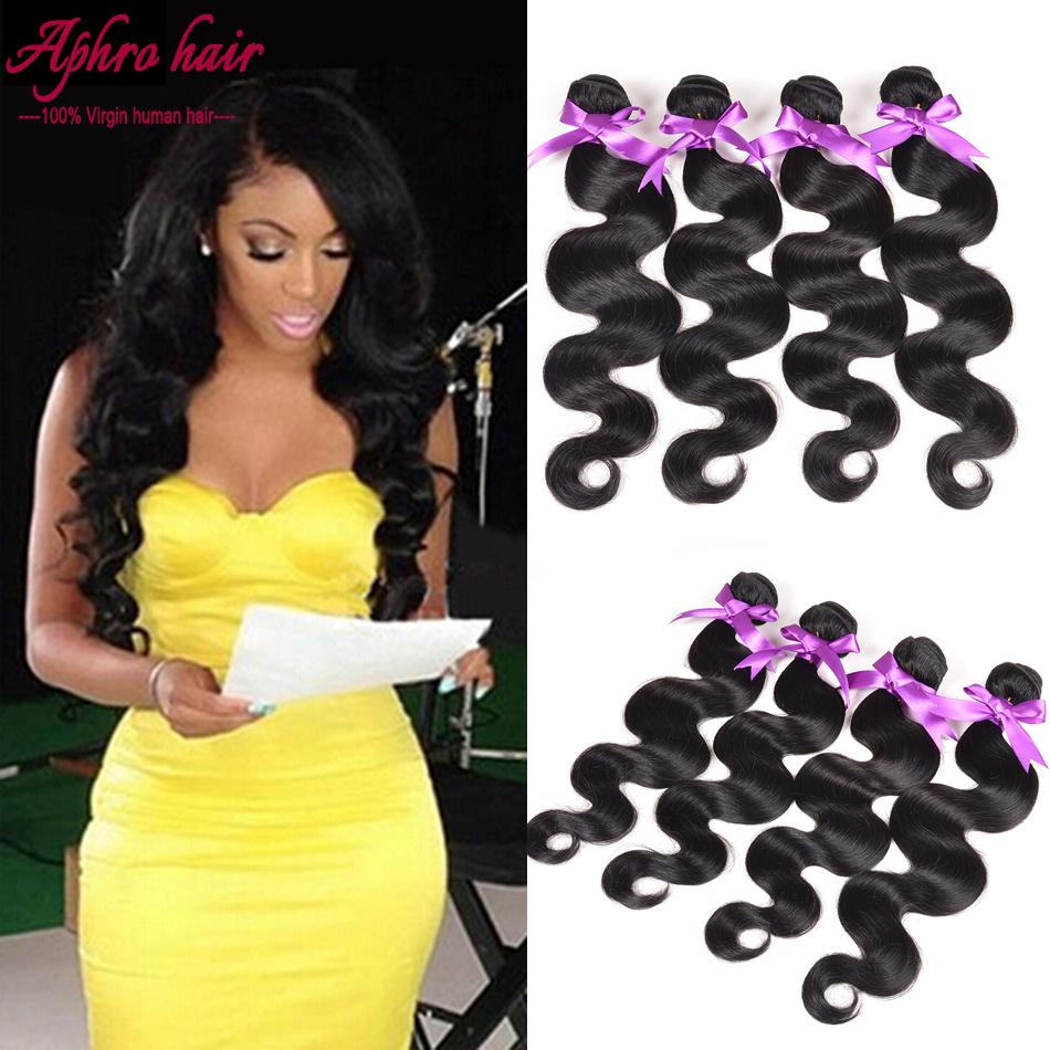 Aphro hair 4 bundles Brazilian Body Wave human hair Brazilian Virgin Hair Body Wave 4 bundle deals mink brazilian hair vendors(China (Mainland))