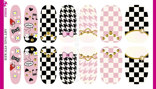 Water Transfer Cartoon Bow Butterfly font b Tartan b font Design Nails Stickers Manicure Styling Tools