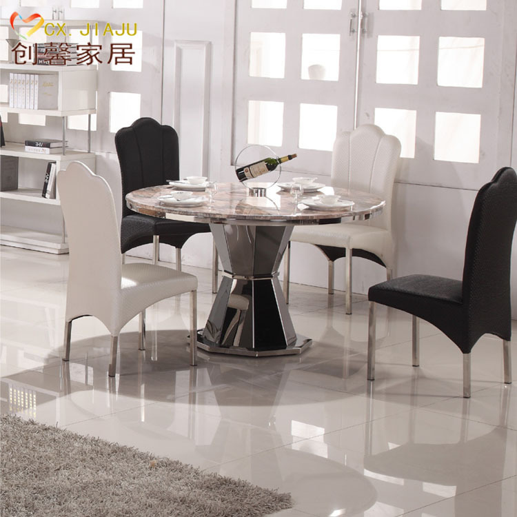 Marble dining table small apartment minimalist modern european roundtable ikea stainless steel - Ikea dining tables for small spaces minimalist ...