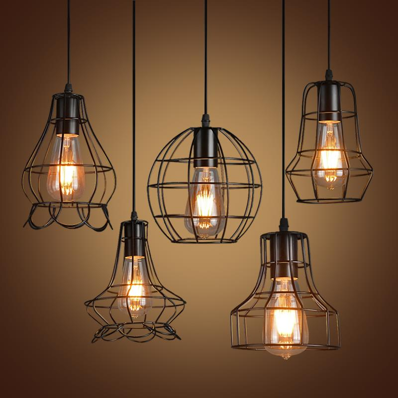 Retro Iron Pendant Light Loft Lamps E27 Birdcage LED Industrial Pendant Lights Hanging Lamp Fixture Bar Cafe Restaurant Store<br><br>Aliexpress