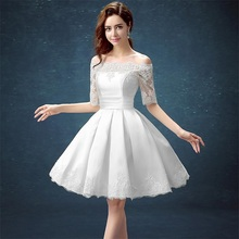 White Half Sleeve Ball Gown Embroidery Lace Special Occasion Short Party Dress Knee Length Robe de Cocktail Dresses Party(China (Mainland))