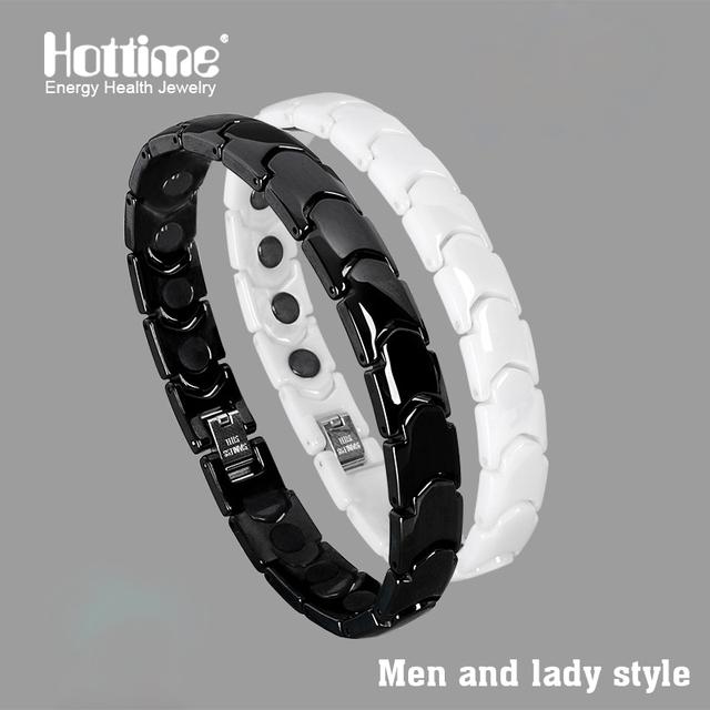 Hottime Black White Bio Elements Energy Ceramic Bracelet Bangle Lovers Magnetic Germanium Health Chain Charms Women Men Jewelry