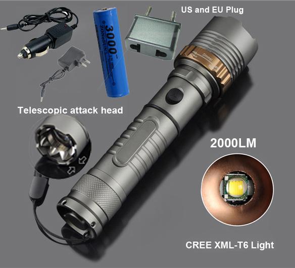 Фонарик ELVS 2000LM UltraFire XML T6 Cree + + ac + 18650 2622B-T6B фонарик cree xml t6 18650 super light