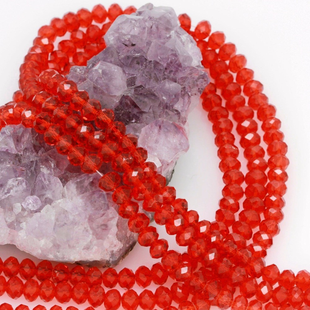 (Minimum Order1 )6mm Fashion 100pcs Chinese Red Glass Crystal beads Loose Beads Faceted beads Jasper bead Jewelry making design(China (Mainland))