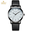 Kingsky Fashion Women Watches Stainless Steel Silver Case Black Genuine Leather Band Ladies Quartz Wrist Watches