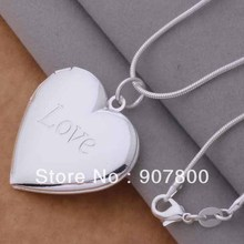 silver photo frame Heart Pendant Necklace Fashion Jewelry classic Valentine's Day gift Top quality(China (Mainland))