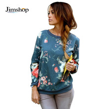 2015 New autumn women sweatshirts floral pullover casual hoodies cotton Terry printed O-neck long sleeves Jimshop(China (Mainland))