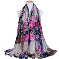2016 New Printed Ferris Wheel Tower Bridge Floral 100 Viscose Cotton Voile Long Women Shawls Muslim