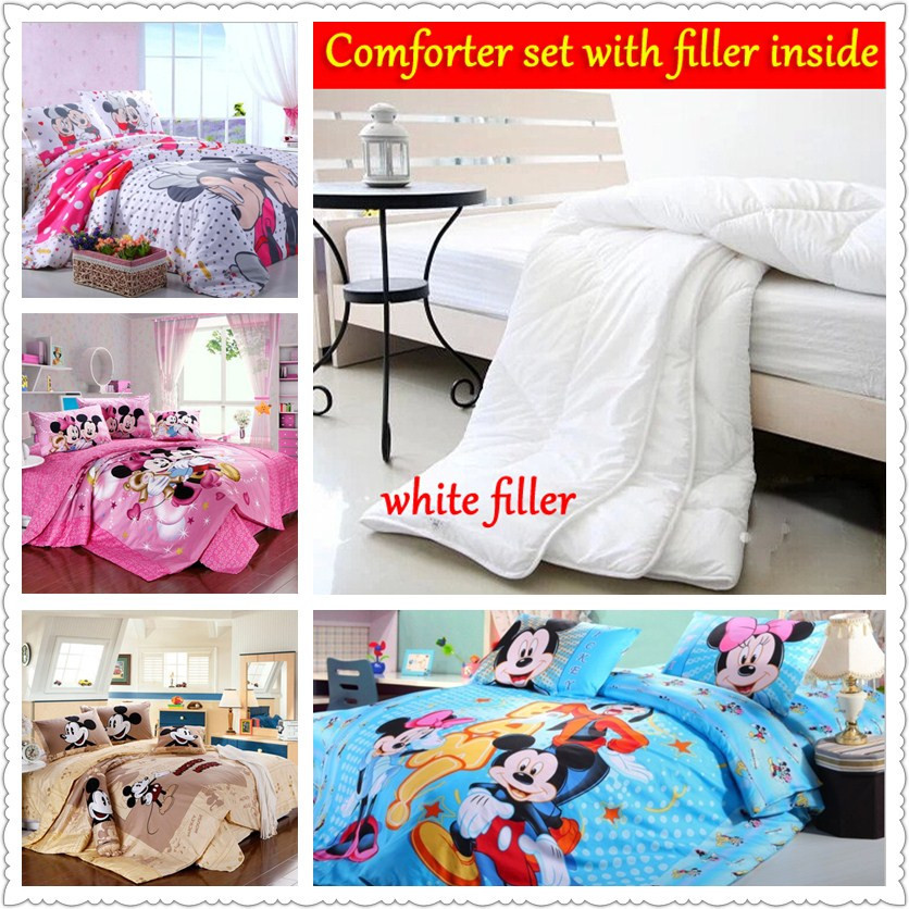 mickey mouse comforter queen size bright colored bedclothes Egyptian cotton duvet cover twin full king home textile children bed(China (Mainland))