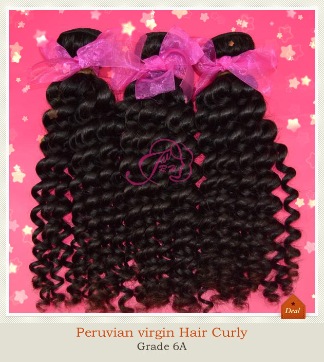 Peruvian virgin hair deep Curly weaves Virgin Human Hair Extension Natural Color - Xin products factory store