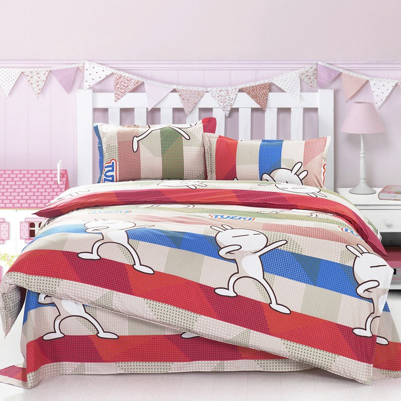 twin full size teen bedding rubbit animals cartoon pattern microfiber sheets sets cheap duvet covers - Smili of CHINA Company store