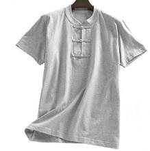 Unisex verão algodão manga curta tang terno kung fu artes marciais camisas tai chi colocar meditação uniformes amarelo/cinza/rosa/azul(China)