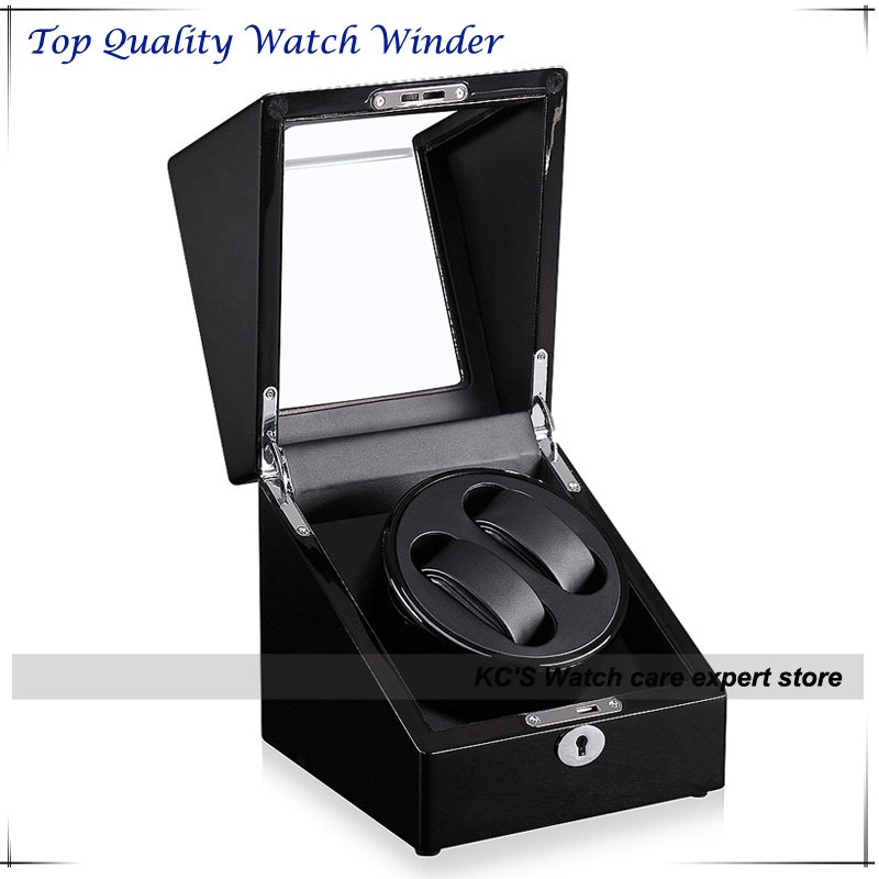 Quality Black Piano Paint Double Automatic Watch Winder and Storage Box Case for Best Christmas Birthday Gift GC03-S105BB(China (Mainland))