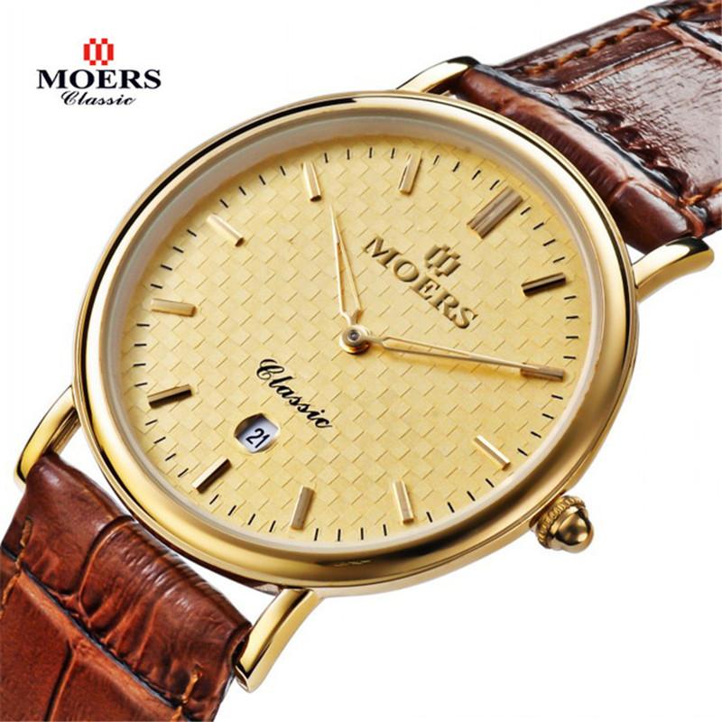 2014 hot sale  fashion casual watch men luxury brand MOERS calendar 30m waterproof genuine leather strap business wristwatch<br><br>Aliexpress
