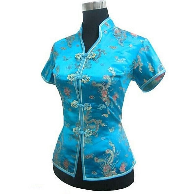 New Arrival Light Blue Female V-Neck Shirt top Chinese Classic Ladies Satin Blouse Size S M L XL XXL XXXL Mujer Camisa JY044-4(China (Mainland))