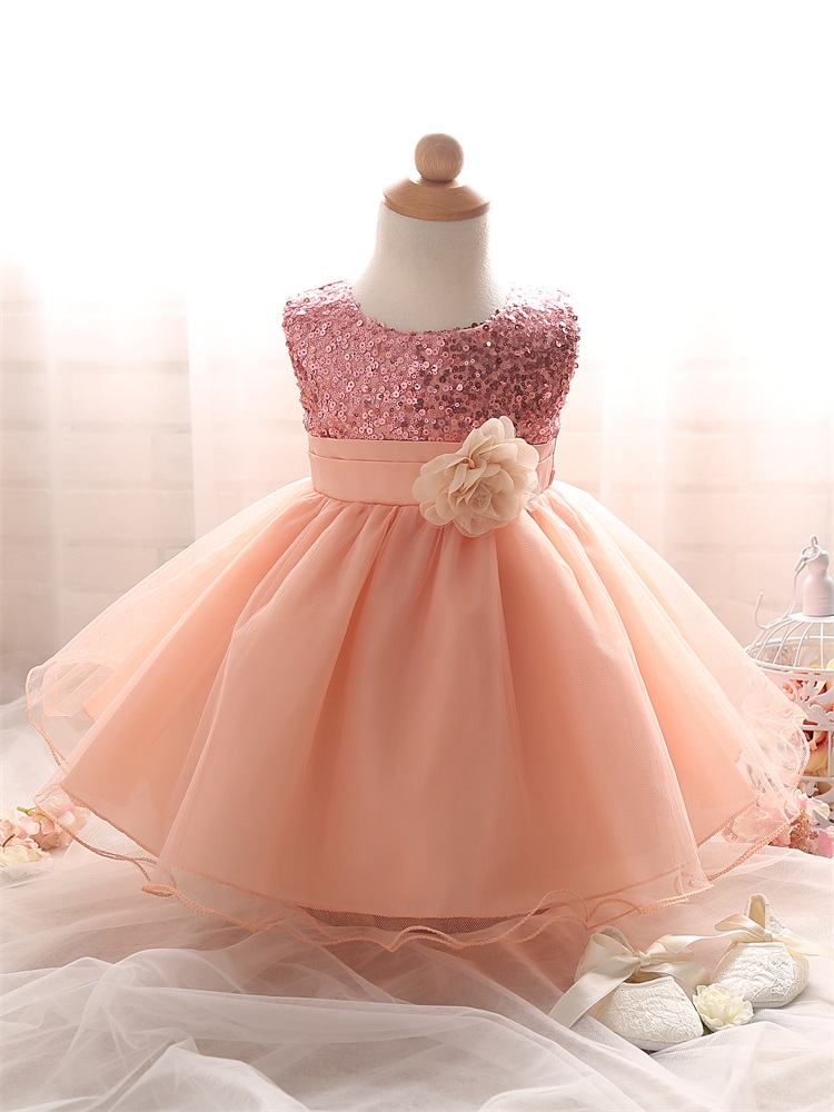 Baby Girl Baptism Dress Tutu Puffy Pink Toddler Girl Clothes Sequined Newborn Birthday Party Dress For Girls Children Clothing(China (Mainland))