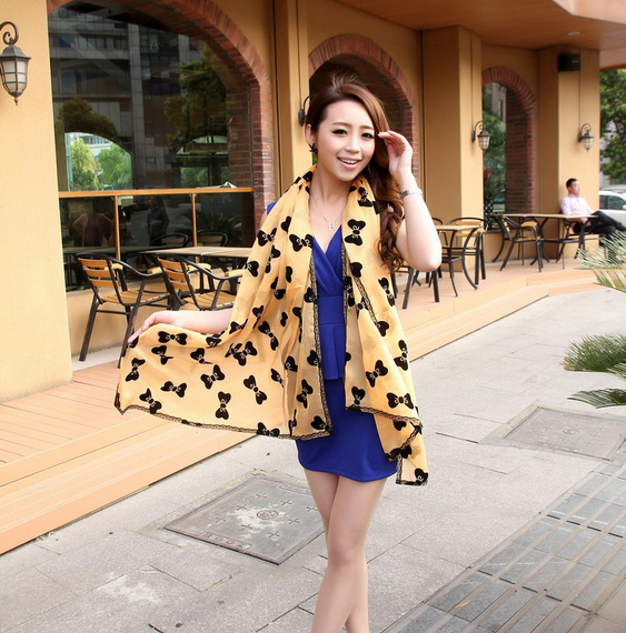 2014 Qiu dong velvet chiffon women long scarf Autumn winter Han edition pallium shawls - Candy's Lovely Store store