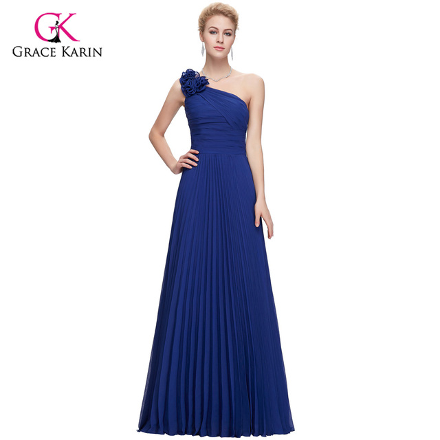 Evening Dresses 2017 Grace Karin Stock Blue Purple Green Red One Shoulder Pleated Designers Long Formal Evening Gowns Prom Dress