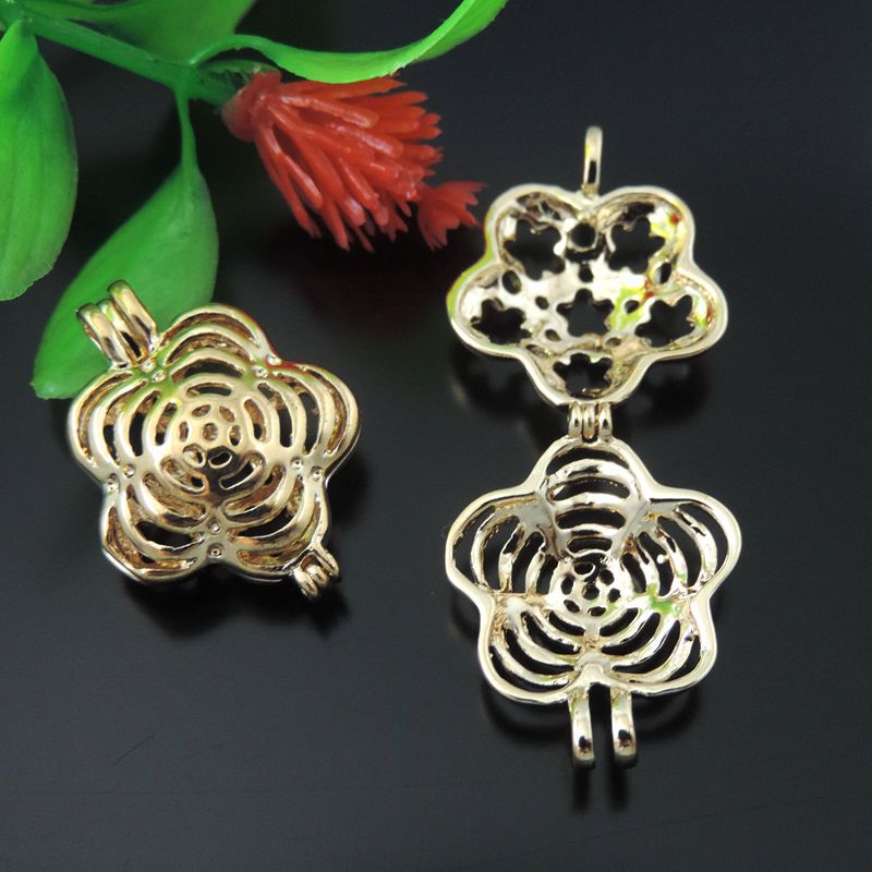 39606 Gold Brass Hollow Flower Locket Wish Box Necklace Pendant 22*18mm 3PCS(China (Mainland))