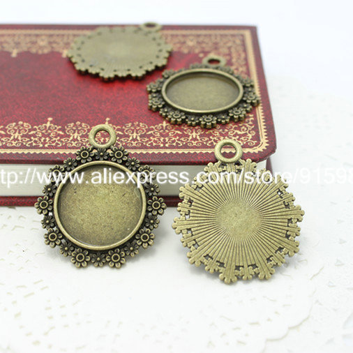 20pcs/lot Vintage Metal Round Cabochon Settings 20mm Antique Bronze Jewelry Blanks Fit Pendant Making 2472(China (Mainland))