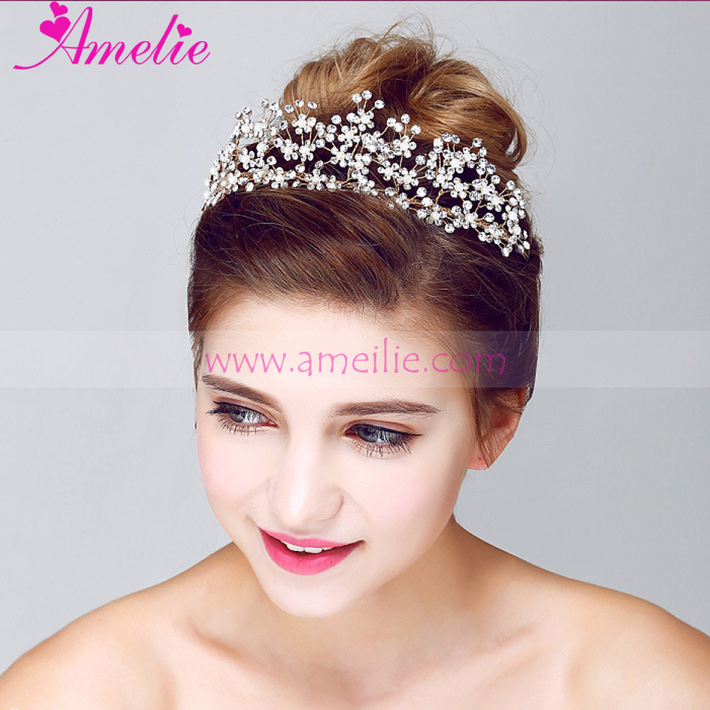 Free Shipping 3pcs Lot Gold Plated Floral Wedding Tiara Crown Bridal Hair Jewellery(China (Mainland))