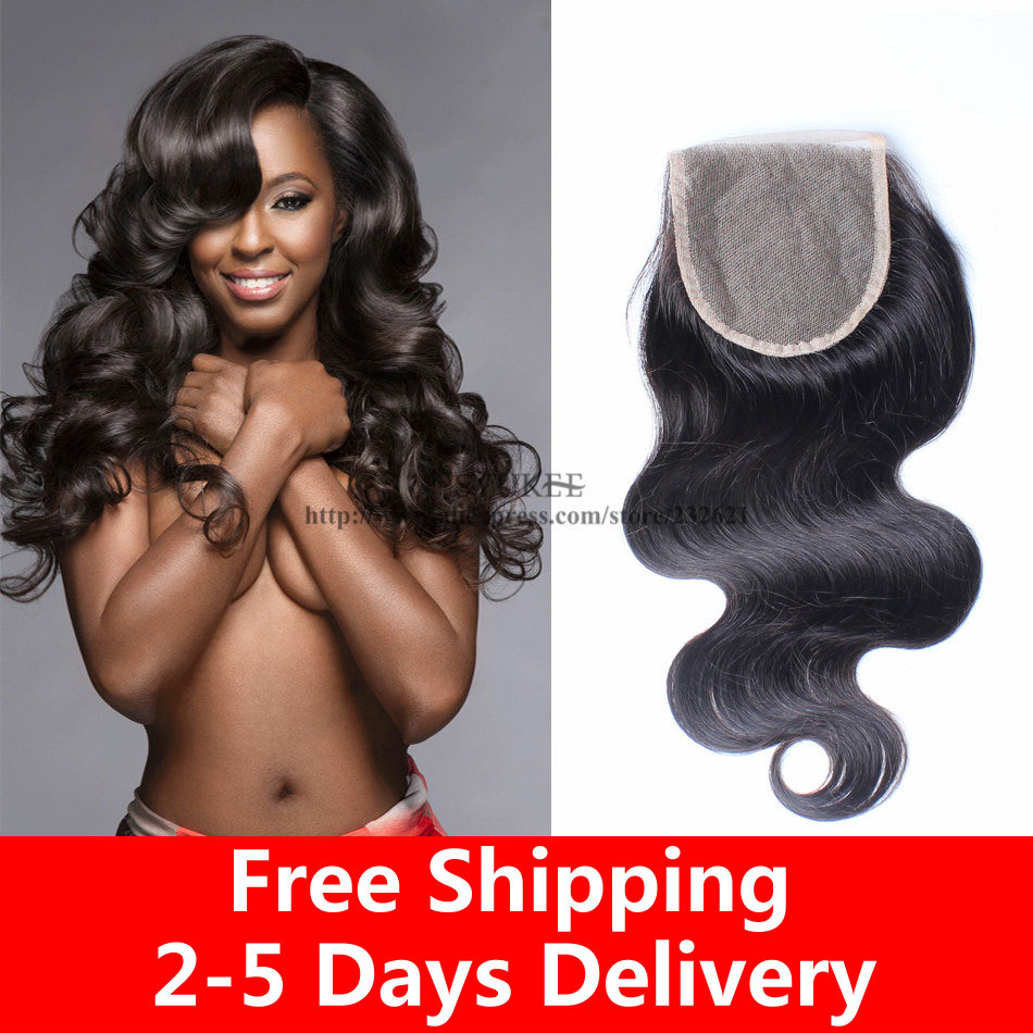 7A Brazilian Body Wave Closure Free Part Middle Part 3 Part Closure Brazilian Lace Closure Bleached Knots Human Hair Closure(China (Mainland))